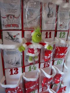 DIY Grinch-themed Advent calendar from a clear plastic over-the-door shoe organizer.