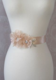 Peach Sash Peach Blush Bridal Sash Wedding Belt by TheRedMagnolia