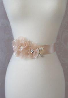 Peach Sash Peach Blush Bridal Sash Wedding Belt by TheRedMagnolia