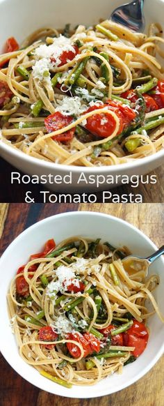 Roasted Asparagus and Tomato Pasta with Toasted Breadcrumbs, Garlic, and Olive Oil