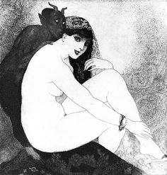 """""""Whispers"""" (Version # 2) ~ Etching by Norman LINDSAY."""