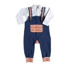 French Blue zip Overalls & White Bodysuit Set