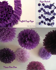 Purple Pom Pom and dangling garland