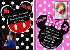 Mickey and Minnie Mouse birthday party pink printable invitations ANY COLOR UPrint customized card by greenmelonstudios