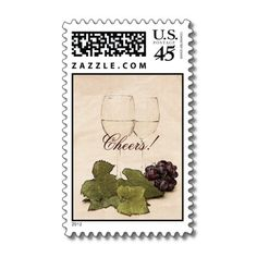 White wine glasses with grapes postage
