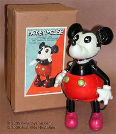 "celluloid ""Mickey Mouse"" w/u and original box Japan Mickey Mouse And Friends, Mickey Minnie Mouse, Disney Mickey, Walt Disney, Disneyland Movies, Old Toys, Children's Toys, Mickey Shorts, Disney Posters"