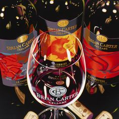 Beautiful painting of our wines by Ray Pelley