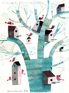 birds and their houses on the tree