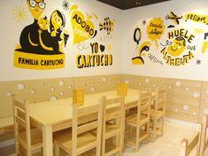 Painting coffee shop walls – Graffiti World Tea Restaurant, Modern Restaurant, Cafe Interior Design, Cafe Design, Mural Wall Art, Diy Wall Art, Bubble Tea Shop, Asian Interior, Cafe Art