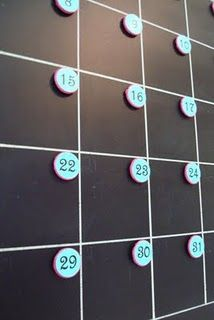 diy family calendar chalkboard with magnets idea