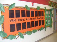 "Jungle Themed Bulletin Board - could do this for my work board and put ""Wild About Great Work"""