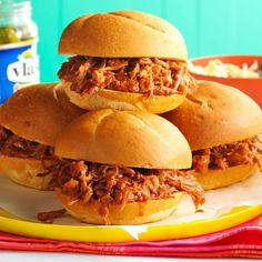 Root Beer Pulled Pork Sandwiches Recipe -My husband is a huge fan of pulled pork sandwiches, so my sister shared this incredibly easy recipe with me. At potlucks and family dinners, nobody can get enough of this root beer-braised version. —Carolyn Palm, Radcliff, Kentucky
