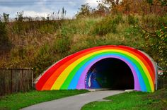The Rainbow Tunnel – Toronto, Canada - Atlas Obscura Rainbow Park, Rainbow Bridge, Parks Department, North York, Park Art, Roadside Attractions, Outsider Art, Future Travel, Over The Rainbow