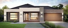 Resultado de imagen de contemporary single story house facades australia The Effective Pictures We Offer You About facade maison A quality picture can tell you many things. You can find the most beaut Modern House Facades, Modern House Plans, Small House Plans, Modern House Design, Modern Architecture, Modern Garage, Modern Houses, Small Modern House Exterior, Contemporary Design