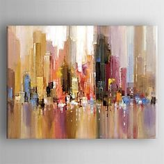 Oil Painting Modern Abstract Landscape Hand Painted Canvas with Stretched Framed - USD $ 69.99