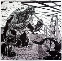 """Gamera takes on San Francisco's Golden Gate Bridge! Each print is made by individually inking the huge 36"""" x 36"""" linocut plate--carved at California's 3 Fish Studios by Eric Rewitzer--then running it through our 48"""" monotype press on a 42"""" x 42"""" sheet of 300gsm Rives BFK paper. You can choose to help print it yourself here in the Outer Sunset at no extra charge, or arrange for delivery."""