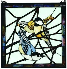 New! Birds Tiffany Sty Stained Glass Window Panel 18x18