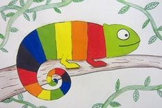 graders are making color wheels in the shape of Chameleons. We draw the chameleon step-by-step together in pencil and then outline in sharpie marker. After they have their chameleon drawn, they. Color Wheel Lesson, Color Wheel Projects, Color Wheel Art, Art Projects, Drawing For Kids, Art For Kids, Cameleon Art, Third Grade Art, Color Secundario