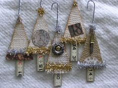 DIY: Vintage Christmas Ornaments - she lists materials used to make these vintage-looking ornaments, including chip board, tinsel and burlap - via Honey Girl Studio Burlap Christmas Tree, Christmas Love, Rustic Christmas, Handmade Christmas, Christmas Holidays, Vintage Christmas, Swedish Christmas, Christmas Swags, Handmade Ornaments