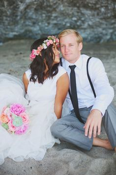 Wedding Dress: Jann Nielsen - http://www.stylemepretty.com/portfolio/jann-nielsen Photography: Eliza J. Photography - http://www.stylemepretty.com/portfolio/eliza-j-photography   Read More on SMP: http://www.stylemepretty.com/california-weddings/2014/07/09/summer-beach-wedding-in-orange-county/