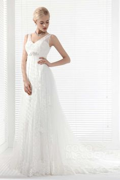 Luxurious A-Line V-Neck Chapel Train Lace Wedding Dress Alb12292 #weddingdresses#cocomelody