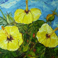 Yellow Hibiscus Original Impasto Oil Painting by OriginalsbyParis, $525.00