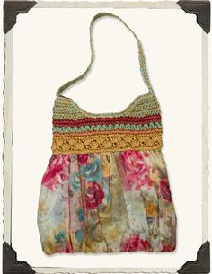 WATERCOLOUR ROSES HOBO BAG  -  Inspiration only.  This bag is available at Victorian Trading Co.