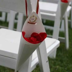 Cones of flower petals for the guests to throw as the couple walks up the aisle after saying their vows.