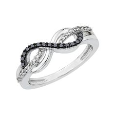 Infinity Black and White Diamond Ring in Sterling Silver (1/5 cttw) >>> You can get more details by clicking on the image. (This is an affiliate link and I receive a commission for the sales)