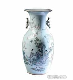 Chinese Export Famille Rose,Scenic,With Figures, Handles, 19th Century Vase