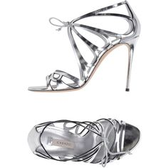 Casadei Sandals ($505) ❤ liked on Polyvore featuring shoes, sandals, silver, polish leather shoes, shiny shoes, casadei sandals, leather footwear and animal shoes