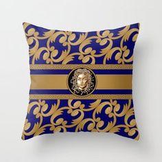 AltaModa's Store   Society6 Green Throw Pillows, Couch Pillows, Down Pillows, Blue Throws, Designer Throw Pillows, Medusa, Pillow Design, Pillow Inserts, Tech Accessories