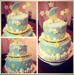 Twinkle twinkle little star baby shower fondant buttercream cake This is the one she likes best @Audrey Hehl