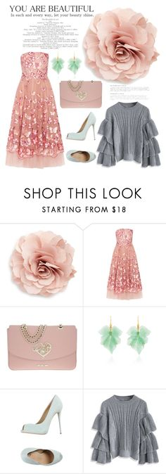 """""""Girls in the City"""" by hotsarrisstyle ❤ liked on Polyvore featuring Cara, Notte by Marchesa, Love Moschino, Annette Ferdinandsen, Giuseppe Zanotti and Chicwish"""