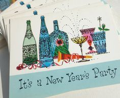New Year's Eve Party Invitations Happy Hour Cocktails Drinks by Norcross Two Packages Retro Mod Graphics Champagne Wine Bottles Glasses. $14.00, via Etsy.