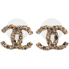Pre-Owned Chanel CC Gold with Grey Yellow and Black Crystal Costume... ($285) ❤ liked on Polyvore featuring jewelry, earrings, gold, yellow gold stud earrings, yellow gold earrings, gold earrings, gold jewelry and colorful stud earrings