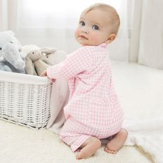 Girls Gingham Flannel Sleepsuit from The White Company