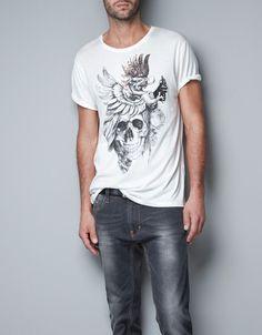 T-SHIRT WITH SKULL (White) - Zara.com - $249nok