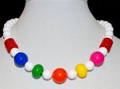 Retro Lucite Necklace White & Neon Multi Color by VintagePolice4U