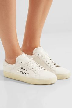 Saint Laurent Court Classic embroidered distressed canvas sneakers