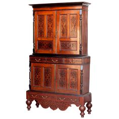 """Dutch Colonial Jackfruit and Ebony Inlay Armoire, 7' 4.5"""" tall x 4' 1.5"""" wide x 17 deep, keys, candles and jam"""