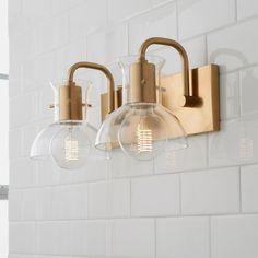 Cut Round Flask Bath Light - 2 Light - Shades of Light Bathroom Chandelier, Bathroom Sconces, Gold Bathroom, Bathroom Light Fixtures, Bathroom Vanity Lighting, Wall Sconces, Nate Berkus, Hans Wegner, Kelly Wearstler