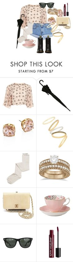 """""""Vintage?!"""" by fabsim on Polyvore featuring Levi's, Tory Burch, Madewell, Intimately Free People, Allurez, Chanel, Royal Albert, Ray-Ban, NYX and Dr. Martens"""