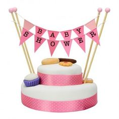 Baby Shower Cake Topper - Made in Britain - Shop at Amazon Cake Bunting, Colorful Cakes, Baby Shower Cakes, Cake Toppers, Britain, Cake Decorating, Pastel, Shapes, Amazon