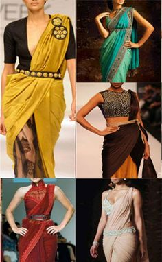Butterfly style, the ulta sari, double drape etc, know how to drape sarees in unusual style. A saree is one of the most versatile garments ever Drape Sarees, Saree Draping Styles, Saree Styles, Bengali Saree, Indian Sarees, Saree With Belt, Saree Belt, Saree Gown, Dhoti Saree