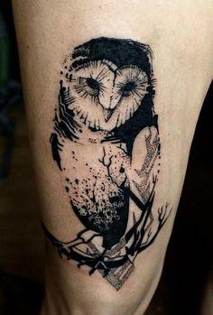 geometric-owl-on-branch-tattoo-e1458933295335.jpg (499×739)
