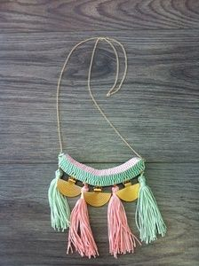 A unique necklace from my collection with two colors ribbons mint green and baby pink.There are same egypt gold details , two colors tassels and gold chain. Ribbon Necklace, Macrame Necklace, Artemis Art, Unique Necklaces, Gold Chains, Ribbons, Mint Green, Pink And Gold, Egypt