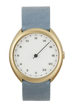 slow O 13 - Swiss Made one-hand 24 hour watch - Gold with light blue leather band * You can find out more details at the link of the image.