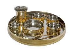 Dinnerware Stainless steel Brass Royal Thali set | IKH101022 | $59.99