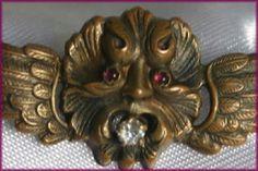 Antique edwardian victorian ruby diamond paste winged gargoyle pin ...